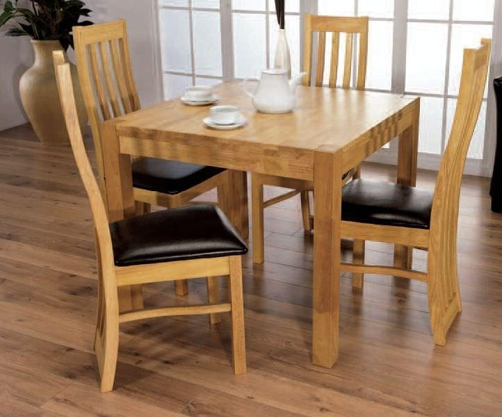 Buy Furniture Link Eve Natural Oak Dining Set – Square With 4 For Most Popular Cheap Oak Dining Sets (Image 1 of 20)