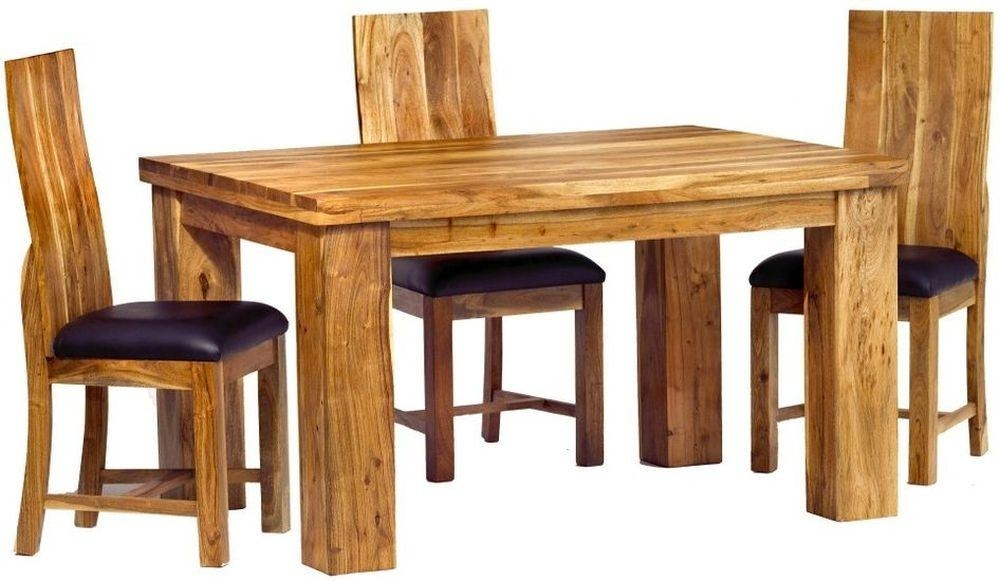 Buy Indian Hub Metro Acacia Dining Set – Small With 4 Chairs With Most Recently Released Indian Dining Chairs (Image 3 of 20)