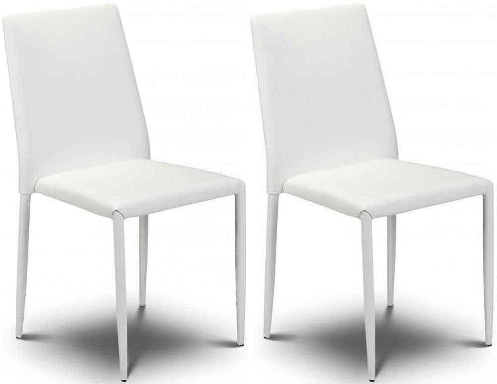 Buy Julian Bowen Jazz White Faux Leather Dining Chair – Stacking Regarding White Leather Dining Chairs (Image 9 of 20)