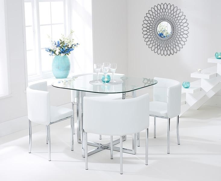 Buy Mark Harris Abingdon Stowaway Glass Dining Set With 4 White Inside Current Glass Dining Tables White Chairs (Image 6 of 20)