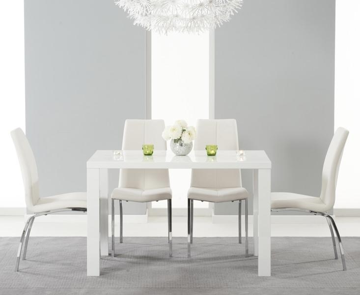 Buy Mark Harris Ava White High Gloss Dining Set 120Cm With 4 Ivory Inside White Gloss Dining Chairs (View 15 of 20)