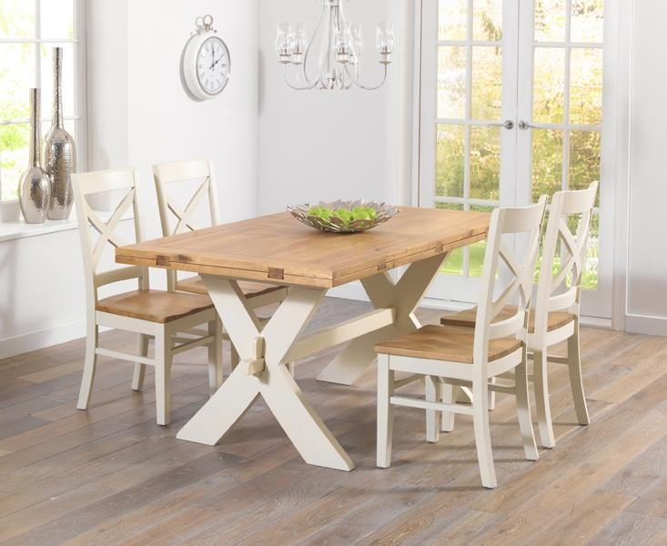 Buy Mark Harris Avignon Oak And Cream 165Cm Extending Dining Set In Oak Extending Dining Tables And 4 Chairs (View 11 of 20)