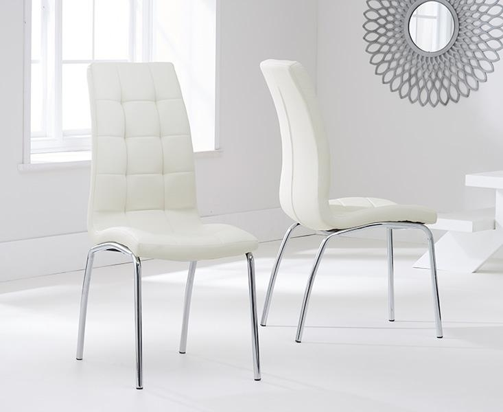 Buy Mark Harris California Cream Faux Leather Dining Chair (Pair For Cream Leather Dining Chairs (Image 2 of 20)