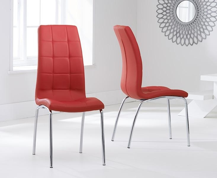 Buy Mark Harris California Red Faux Leather Dining Chair (Pair Pertaining To Red Leather Dining Chairs (Image 6 of 20)