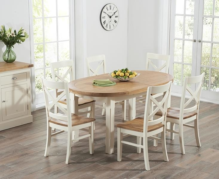 Buy Mark Harris Cheyenne Oak And Cream Oval Extending Dining Table In Recent Cream And Oak Dining Tables (View 2 of 20)
