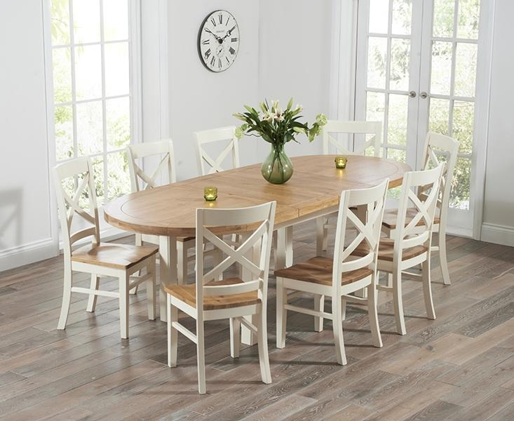 Buy Mark Harris Cheyenne Oak And Cream Oval Extending Dining Table Pertaining To 2018 Oval Extending Dining Tables And Chairs (Image 4 of 20)