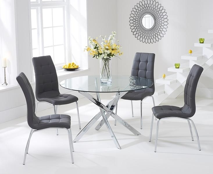 Buy Mark Harris Daytona 110Cm Glass Round Dining Set With 4 Inside 2018 Dining Tables Grey Chairs (Image 6 of 20)