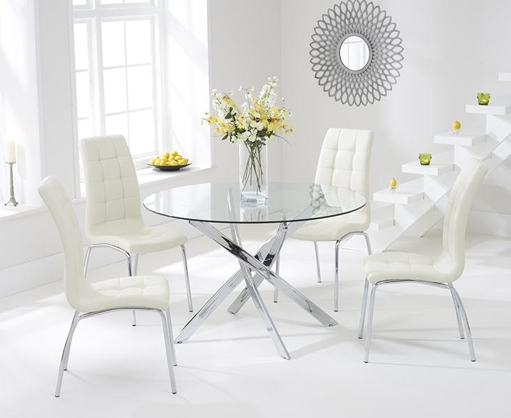 Buy Mark Harris Daytona 110Cm Glass Round Dining Set With 4 Pertaining To Most Current Cream Dining Tables And Chairs (View 7 of 20)