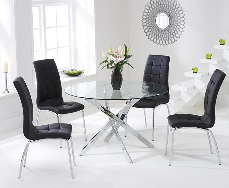 Buy Mark Harris Daytona 110Cm Glass Round Dining Set With 4 With Regard To Most Up To Date Round Black Glass Dining Tables And Chairs (Image 6 of 20)