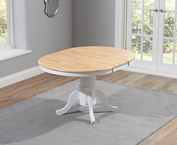 Buy Mark Harris Elstree Oak And White 100Cm Round Extending Dining With 2018 White Round Extendable Dining Tables (Image 5 of 20)