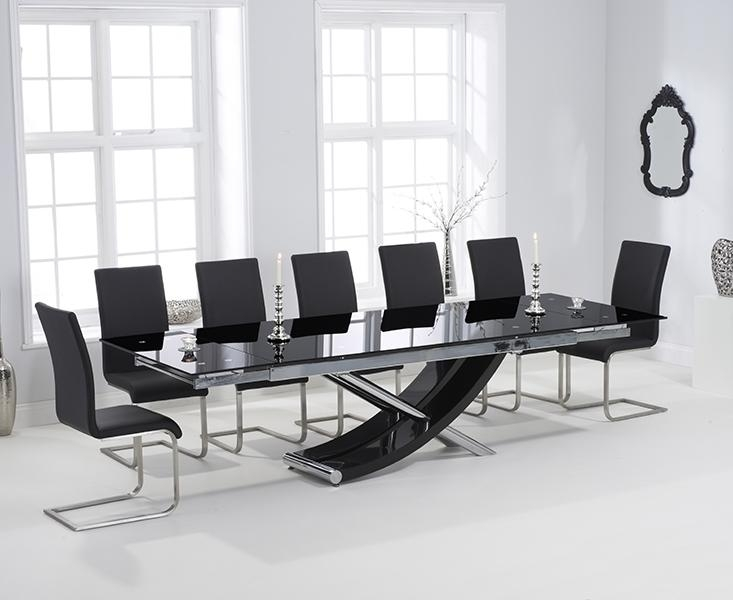 Buy Mark Harris Hanover 210Cm Black Glass Extending Dining Table With Regard To Most Popular Black Glass Dining Tables (Image 7 of 20)