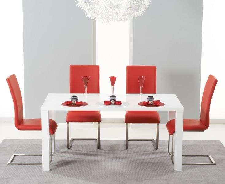 Buy Mark Harris Hereford White High Gloss Dining Set With 4 Red Regarding Most Current Red Gloss Dining Tables (Image 5 of 20)