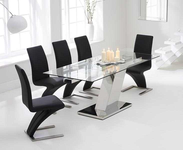 Buy Mark Harris Lamont 140Cm Glass Extending Dining Set With 6 Intended For Most Popular Glass Extendable Dining Tables And 6 Chairs (View 13 of 20)