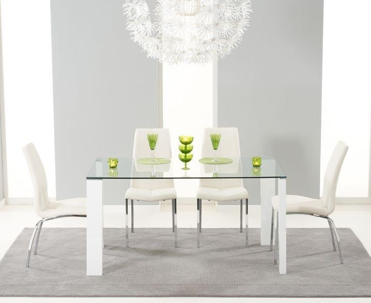 Buy Mark Harris Lourdes Glass And White Gloss 150Cm Dining Table Pertaining To Most Up To Date White Gloss And Glass Dining Tables (Image 4 of 20)