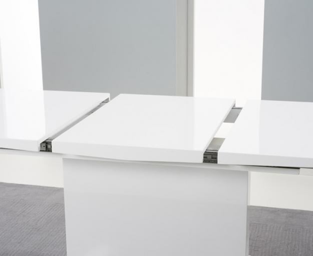 Buy Mark Harris Marila White High Gloss Extending Dining Table Regarding 2017 High Gloss Extendable Dining Tables (Image 4 of 20)