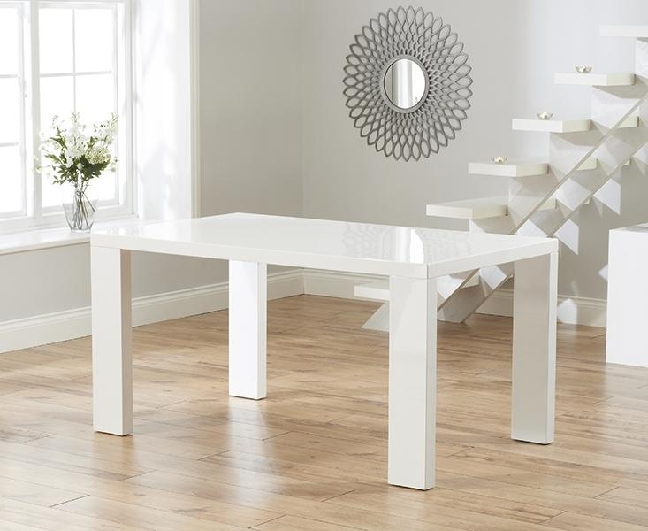 Buy Mark Harris Metz White High Gloss 120Cm Dining Set With 4 For White Gloss Dining Tables 120Cm (Image 7 of 20)