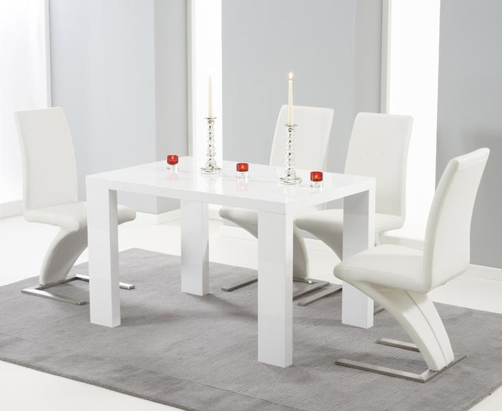 Buy Mark Harris Metz White High Gloss 120Cm Dining Set With 4 Inside Gloss Dining Set (Image 3 of 20)