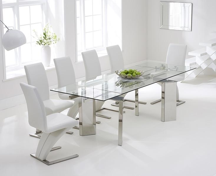 Buy Mark Harris Millicent 160Cm Glass Extending Dining Set With 6 With Regard To Most Up To Date Glass Extendable Dining Tables And 6 Chairs (View 11 of 20)