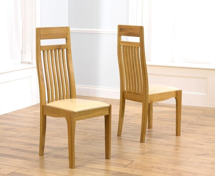 Buy Mark Harris Monte Carlo Oak Dining Chair – Cream Leather Seat For Newest Oak Leather Dining Chairs (Image 7 of 20)
