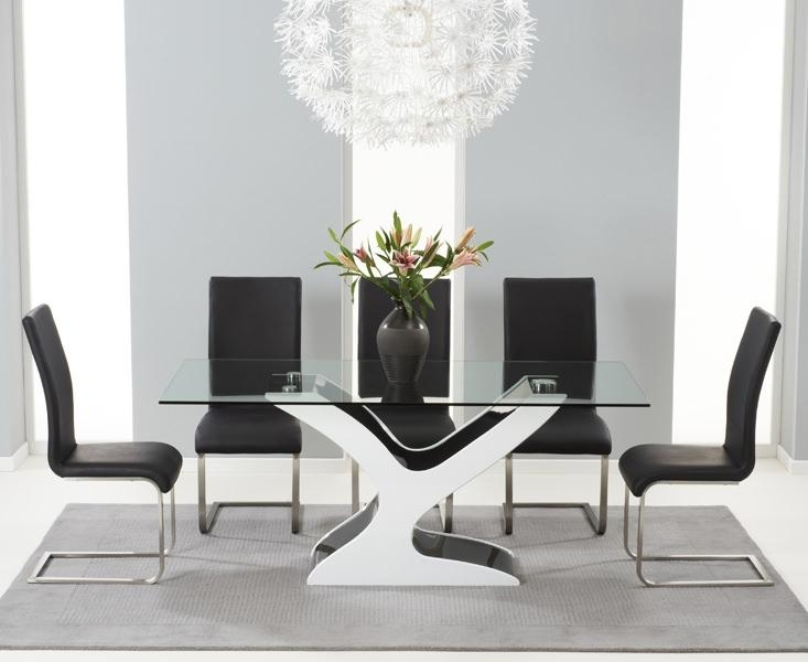Buy Mark Harris Natalie Black And White High Gloss Glass Top Inside 2017 Black High Gloss Dining Tables (Image 6 of 20)