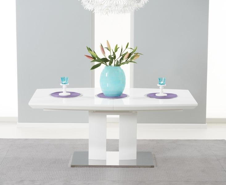 Buy Mark Harris Rossini White High Gloss 180Cm 220Cm Extending With Regard To Current High Gloss Extendable Dining Tables (Image 5 of 20)