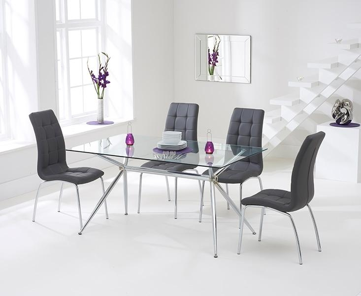 Buy Mark Harris Salento 150Cm Glass Dining Set With 4 California In Recent Grey Glass Dining Tables (View 15 of 20)