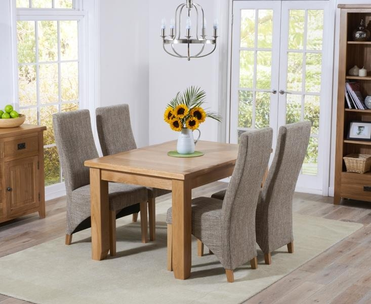 Buy Mark Harris York Solid Oak 130Cm Extending Dining Set With 4 Pertaining To Most Current Oak Dining Tables And Fabric Chairs (Image 4 of 20)