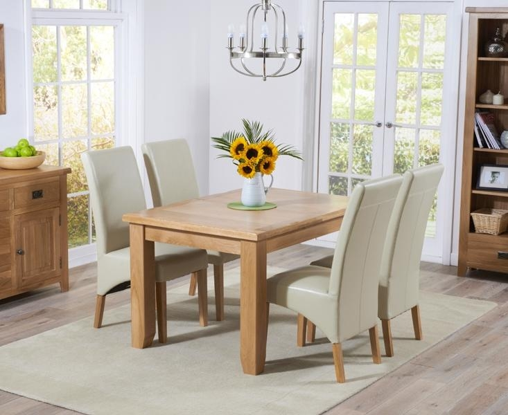 Buy Mark Harris York Solid Oak 130Cm Extending Dining Set With 4 With Oak Extending Dining Tables And 4 Chairs (View 19 of 20)