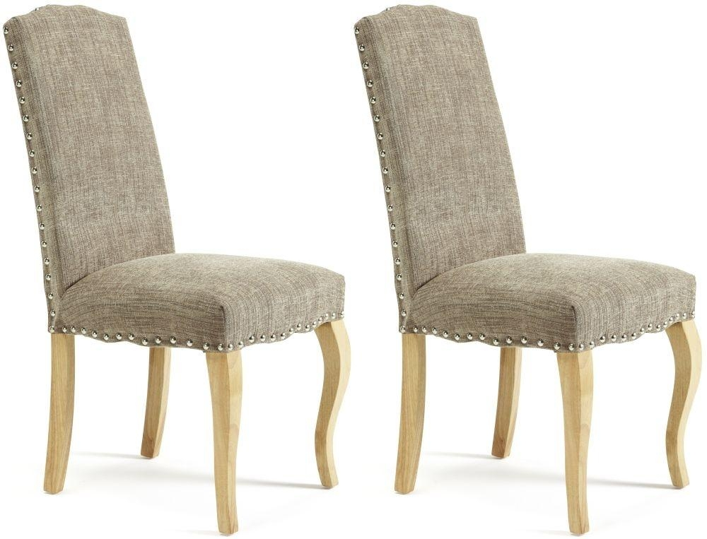 Buy Serene Kensington Bark Fabric Dining Chair With Oak Legs (Pair Throughout Most Popular Oak Fabric Dining Chairs (Image 3 of 20)