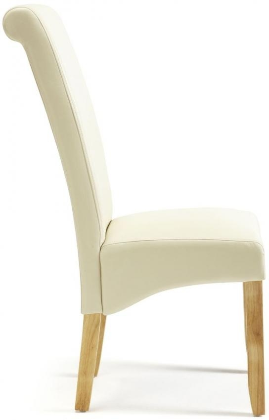 Buy Serene Kingston Cream Faux Leather Dining Chair With Oak Legs In Recent Cream Faux Leather Dining Chairs (Image 4 of 20)