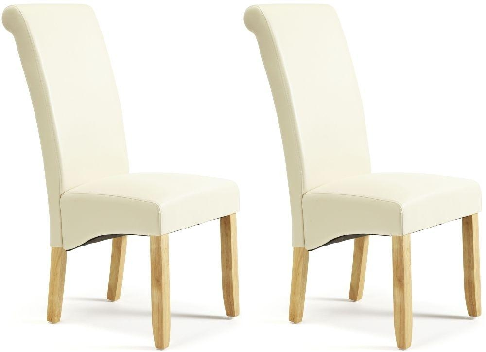 Buy Serene Kingston Cream Faux Leather Dining Chair With Oak Legs Pertaining To Most Recently Released Oak Leather Dining Chairs (View 15 of 20)