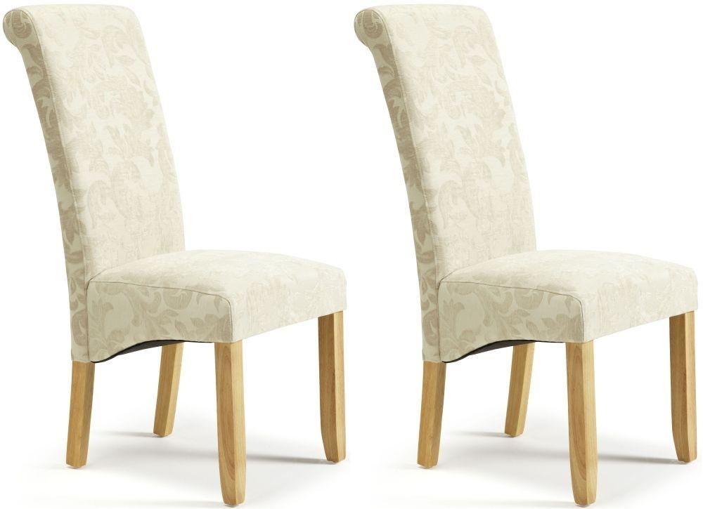 Buy Serene Kingston Cream Floral Fabric Dining Chair With Oak Legs For Latest Oak Fabric Dining Chairs (Image 4 of 20)