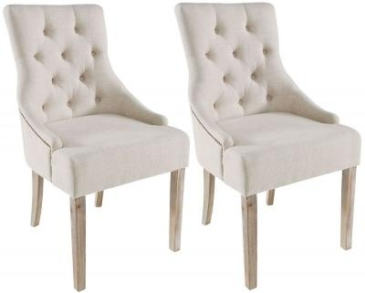 Buy Stellar Cream Fabric With Button Back Upholstered Dining Chair Within Latest Button Back Dining Chairs (Image 5 of 20)