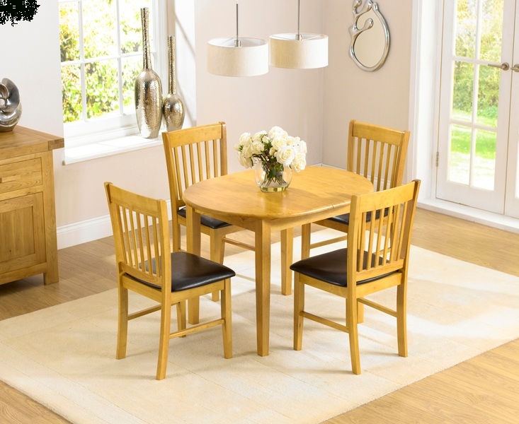 Buy The Amalfi Oak 107Cm Extending Dining Table And Chairs At Oak For Current Oval Extending Dining Tables And Chairs (Image 5 of 20)