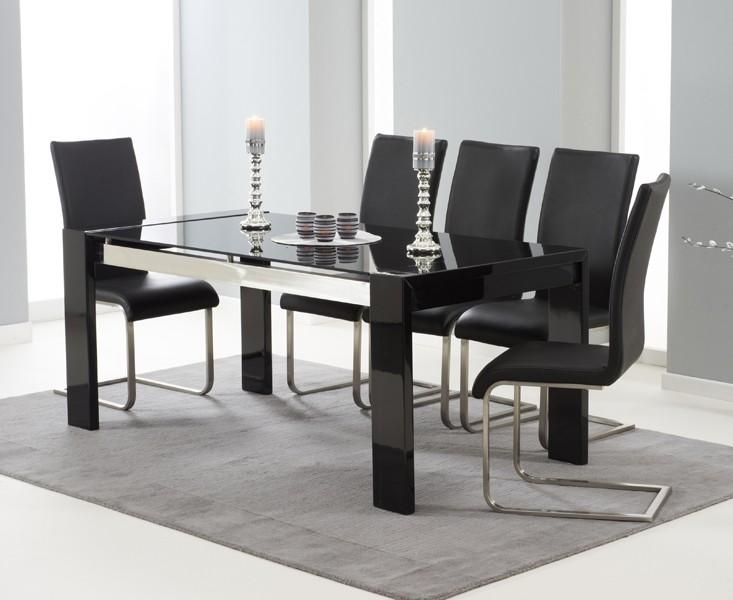 Buy The Cannes 180Cm Black High Gloss Dining Table With Malaga In Latest Black Gloss Dining Tables And Chairs (Image 6 of 20)