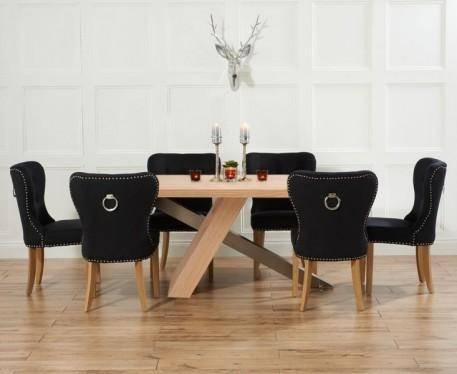 Buy The Chateau 195Cm Oak And Metal Dining Table With For 2018 Oak Dining Tables And Fabric Chairs (Image 5 of 20)