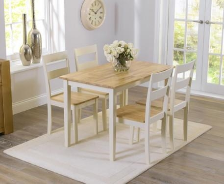Buy The Chiltern 115Cm Oak And Cream Dining Table And Chairs At Regarding Most Popular Cream And Oak Dining Tables (View 15 of 20)