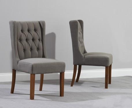 Buy The Safia Grey Fabric Dark Oak Leg Dining Chairs At Oak Inside Current Fabric Dining Chairs (Image 6 of 20)