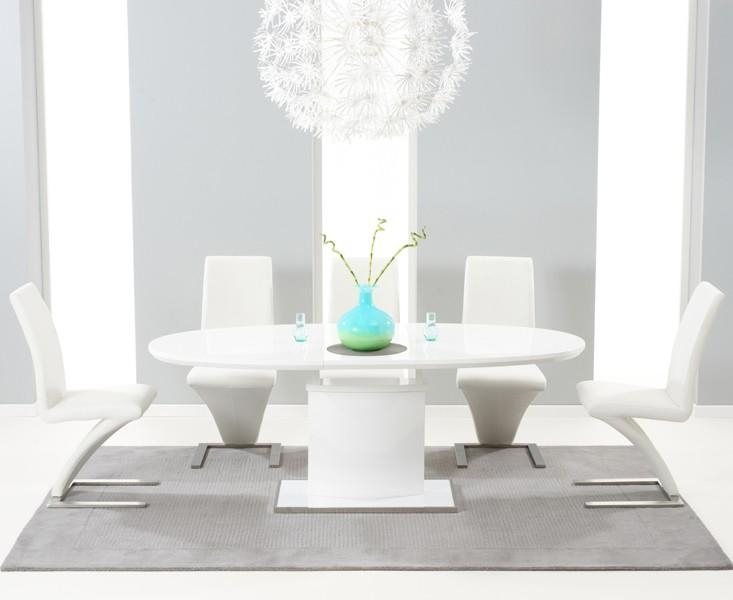 Buy The Santana 160Cm White High Gloss Extending Pedestal Dining Within  Newest Oval White High Gloss