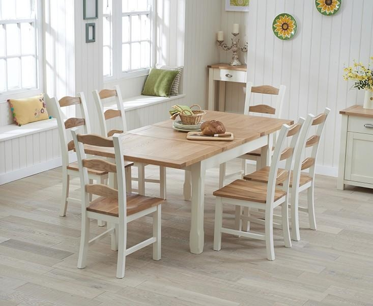 Buy The Somerset 130Cm Oak And Cream Extending Dining Table With Regarding Most Recent Extending Oak Dining Tables And Chairs (Image 4 of 20)