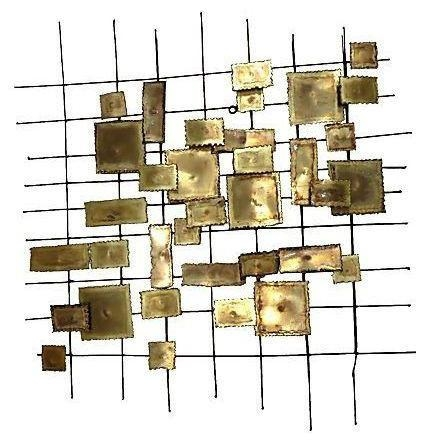 C Jere Style Geometric Brass Wall Sculpture Throughout C Jere Wall Art (Image 4 of 20)