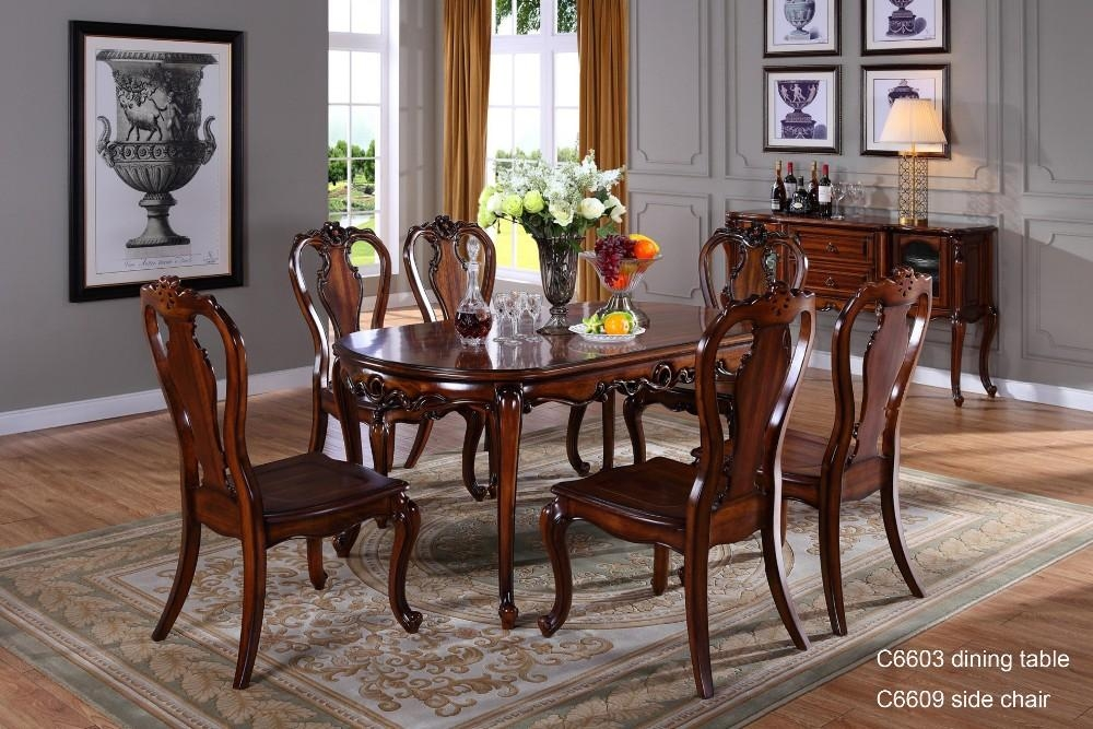 C6618 Wooden Traditional Indian Dining Table , Dining Room With Indian Dining Room Furniture (View 14 of 20)