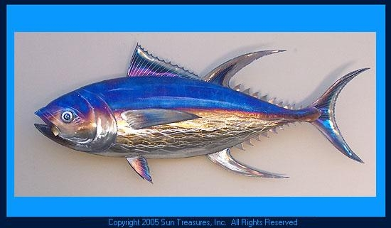 Caldwell Yellowfin Tuna Metal Wall Art Sculpture Within Large Metal Wall Art Sculptures (Image 11 of 20)