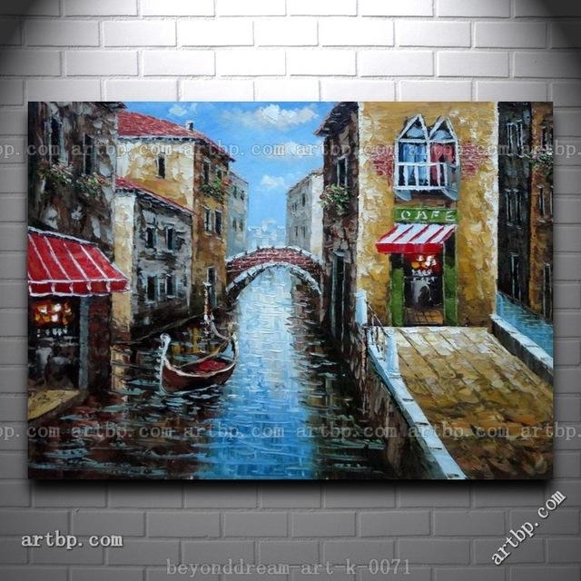 Canal Of Venice Italy Oil Painting Naturalism Canal Chastity With Regard To Italian Silver Wall Art (Image 6 of 20)