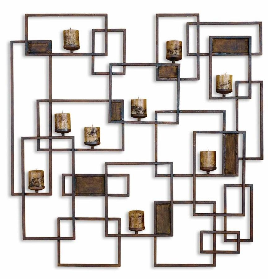 Candle Holder On Grid – Contemporary 3D Relief Metal Wall Art With Metal Wall Art With Candles (Image 11 of 20)