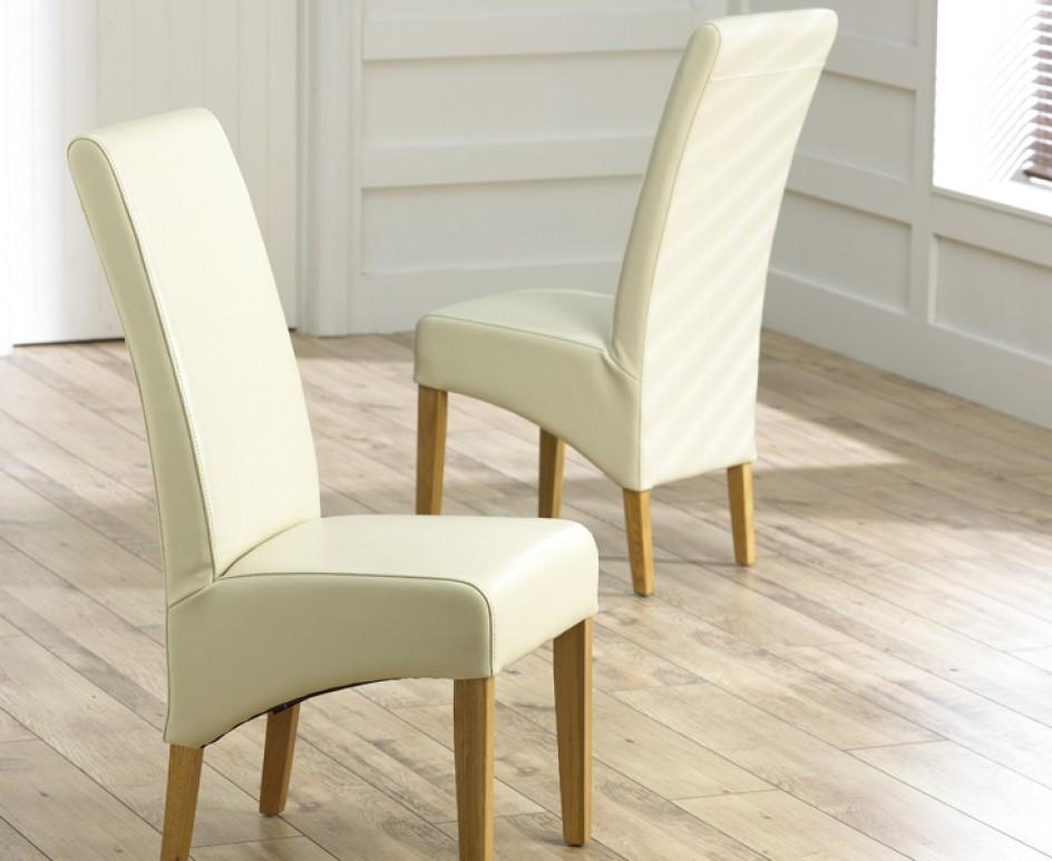 Cannes Cream Bonded Leather Dining Chairs (Pair) | The Great In Cream Leather Dining Chairs (Image 3 of 20)