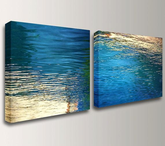 Canvas Art Nautical Wall Art Beach Modern Abstract Blue Within Teal And Gold Wall Art (Image 11 of 20)