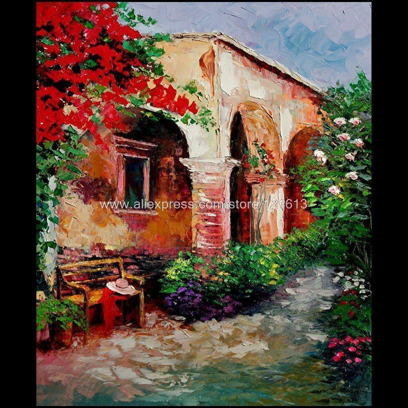 Canvas Paints Garden Courtyard Italian Modern Abstract Restaurant Regarding Italian Garden Wall Art (View 9 of 20)