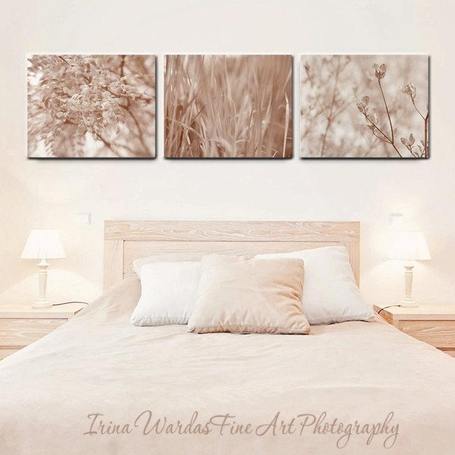 Canvas Wall Art Set Of 3 Canvas Wraps | Nature Art | Neutral Tan Beige With Wall Art Sets Of  (Image 6 of 20)