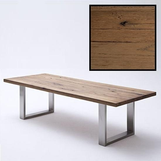 Capello 180Cm Bassano Oak Dining Table With Stainless Steel Regarding Recent 180Cm Dining Tables (Image 7 of 20)